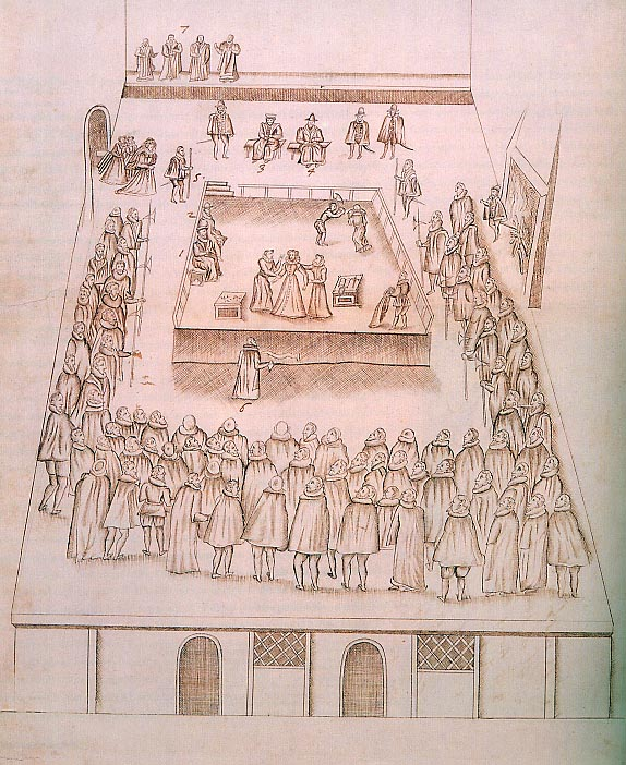 Contemporary sketch of Mary's execution in the Great Hall of Fotheringhay.  Mary is seen entering on the left and being disrobed by her ladies. @ owner, British Library.