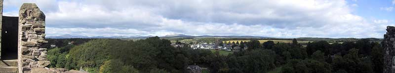 The view from the roof of the castle, with the town of Doune in the distance